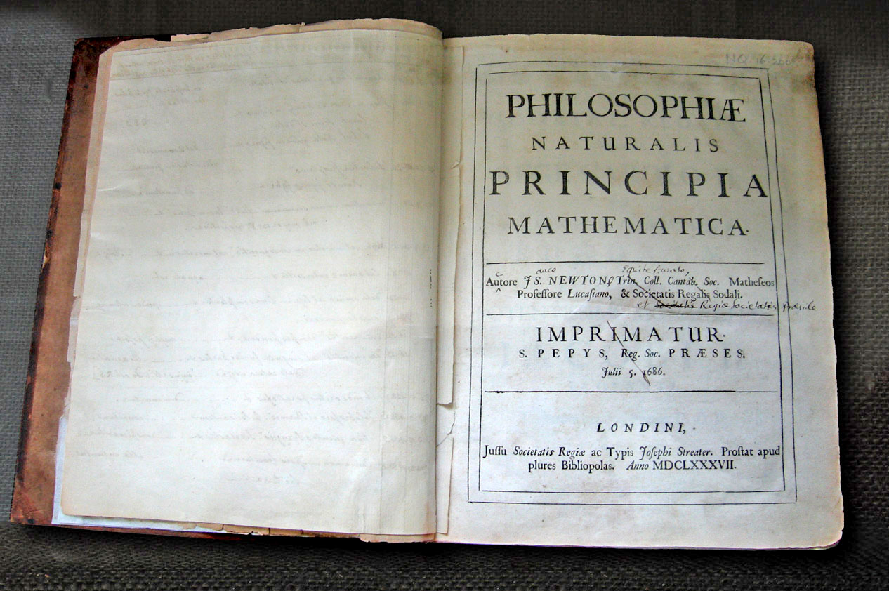 The title page of Newton's Principia. Used under CC BY-SA 2.0 Photograph © Andrew Dunn, 5 November 2004. Website: http://www.andrewdunnphoto.com/